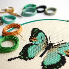 Image of Mint Butterfly cross-stitch PDF pattern