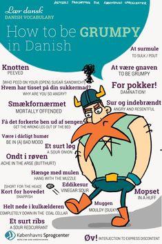 How to be grumpy in Danish! Danish Language, Danish Hygge, Danish Words, Learn Swedish, Norway Language, Danish Christmas, Christmas Ideas, Writers Help, Denmark Travel