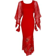Pre-owned 2003 Christian Dior Haute-Couture Red Beaded Chiffon... (4,220 CAD) ❤ liked on Polyvore featuring dresses, gowns, aesthetic evening dresses, evening dresses, vintage sequin dress, red dress, red sequin gown, vintage beaded dress and red evening gowns