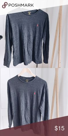 Polo Ralph Lauren long sleeve gray tee Unisex Size M comfy cotton long sleeve by RL Polo.  Barely worn.  Red logo. Polo by Ralph Lauren Tops Tees - Long Sleeve