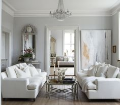 Furniture Arrangement Living Room Two Couches 51 Ideas For 2019 French Living Rooms, Living Room White, White Rooms, My Living Room, Home And Living, Living Room Furniture, Living Room Decor, Couch Furniture, Living Spaces