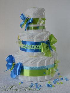 Торт из памперсов Морозная мята 40 штук купить в Интернет-магазине «ДИВО-ПОДАРОК» - букеты из игрушек, одежды, памперсов по доступным ценам. Доставка в любой регион Украины!