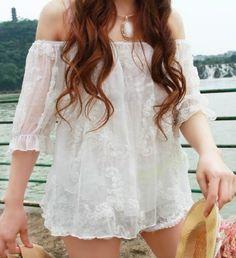 White Chiffon Floral Top