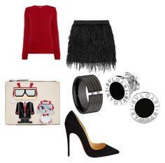 """""""Red sweater and a blind date"""" by joanna-brzegowy on Polyvore featuring moda, MaxMara, Karl Lagerfeld, Mason by Michelle Mason, Christian Louboutin i Bulgari"""