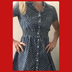 ✨2/15.00 Denim Polka Dot Dress Gently worn. Pair this with red flats or wedges and it'll be so cute.     Absolutely No Trades.Paypal.Holds  PRICE FIRM, unless bundle 10% off 3+ items  Shipped Next Business Day   Thank You Mossimo Supply Co Dresses