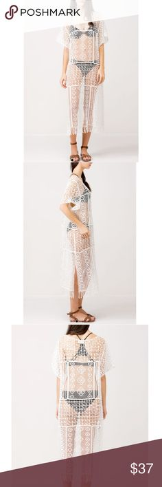 White Long Crochet Cover Up Beautiful Cover up, Cotton, One Size ! Available in black too ! Swim Coverups