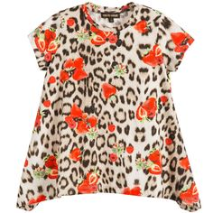 Girls sweet, short-sleeved top by Roberto Cavalli, made with soft and silky cotton jersey. A long top with a wide hem, which is longer on the sides, featuring the designer's leopard and strawberries print. A lovely top, which would look great worn with leggings and trousers.