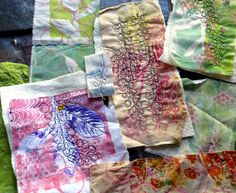 """Here I'm using fabric that I've gelli printed, stenciled and or stamped. Then, I""""m free motion machine stitching the poke berries design on the cloth. -- Poke Salad Annie ~ in progress by janelafazio, via Flickr"""