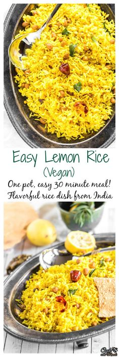 Easy one-pot meal which can be prepared in 15 minutes. This Lemon rice is easy, delicious, full of flavors and vegan! Find the recipe on Veggie Recipes, Indian Food Recipes, Asian Recipes, Vegetarian Recipes, Cooking Recipes, Healthy Recipes, Rice Recipes, Vegan Vegetarian, Healthy Food