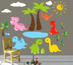 Kids Wall Decals Dinosaurs Children Wall Decal Wall Sticker Nursery Kids Playroom Baby Room Art - O7