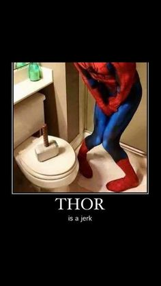 Thor's hammer on the toilet lid.