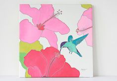Hummingbird Silk Painting by Caroline Grigg