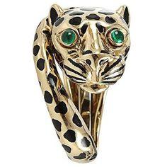 David Webb Leopard Ring with Emeralds