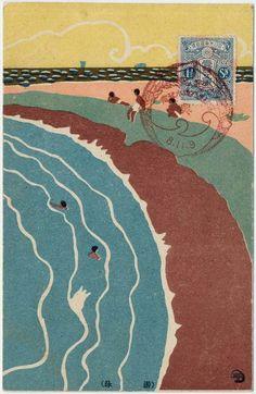carte postale, japon, mer, plage, 1919 , artist - Sugiura Hisui