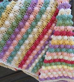 Etsy Transaction - Colorful Striped Bobble Stitch Baby Blanket