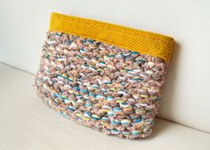 Yellow Knitted Leather Clutch Bag with Multicolored Yarn, Boho Women's accessories