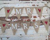 MR & MRS...Glittered Burlap Wedding Chair Banners