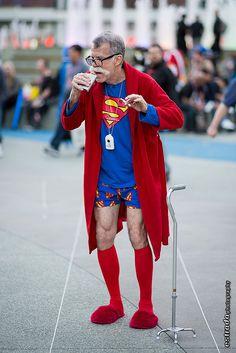 Even Superheros get old. Old Superman, Getting Old, Lost, Cosplay, Humor, Superhero, Comics, Halloween, Flower