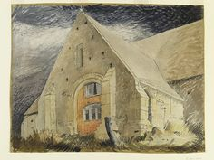 John Piper, 'Tithe Barn, Great Coxwell, Berkshire', watercolour on paper John Piper Artist, Stanley Spencer, Coventry Cathedral, The Embrace, Royal College Of Art, Victoria And Albert Museum, World War Two, Architecture, Landscape Paintings