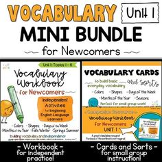 ESL Vocabulary Workbook, Cards and Sorts: Unit 1 Mini Bundle Vocabulary Instruction, Vocabulary Cards, English Language Learners, Writing Workshop, Ell, Writing Activities, Literacy Centers, Teaching English, Minimal
