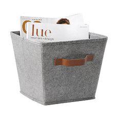 Essential Home Gray Felt Bin Square