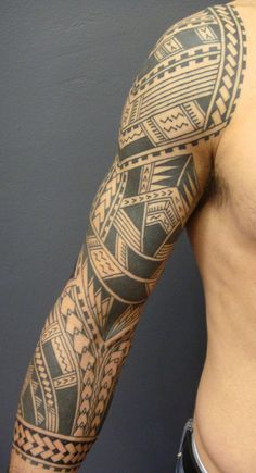 Polynesian arm tatto