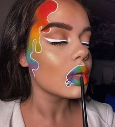 Makeup Ideas to Celebrate Pride Month – . - Makeup Ideas to Celebrate Pride Month – Christmas Makeup – - Makeup Eye Looks, Eye Makeup Art, Crazy Makeup, Cute Makeup, Eyeshadow Makeup, Eyeliner, Disney Eye Makeup, Kawaii Makeup, Face Paint Makeup