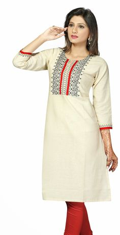 Off white 3/4th sleeves Khadi kurti with beautifully designed patch work