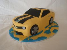 Cooper's 5th Bumblebee cake - Autobots, roll out!
