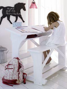 School-room style Children's Desks | House  Home...I love this!
