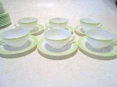 """6 Vintage PYREX LIME GREEN Band 8"""" Milk GLASS Coffee CUPS & SAUCERS Excellent! #Pyrex"""