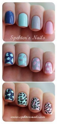 Uñas de animal print en varios colores - http://xn--decorandouas-jhb.com/unas-de-animal-print-en-varios-colores/