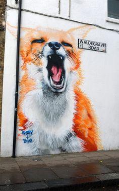 Amazing fox mural in Wood Green, London