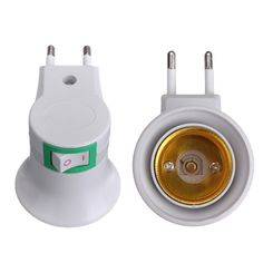 E27 LED Light Male socket to EU Type Plug Adapter Converter On-off Control Switch