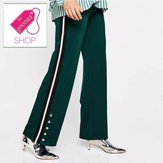 Specifics  GenderWomen  Pattern TypeSolid  Front StyleFlat  DecorationButton  Waist TypeHigh  LengthFull Length  MaterialPolyester  Pant StyleWide Leg Pants  Closure TypeElastic Waist  Fabric TypeBroadcloth  Fit TypeLoose  StyleCasual  ColorArmy  SizeS M L | Shop this product here: http://spreesy.com/shopforgoodies/299 | Shop all of our products at http://spreesy.com/shopforgoodies    | Pinterest selling powered by Spreesy.com