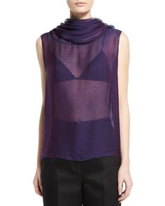 THE ROW Aurent Cowl-Neck Sleeveless Top, Grape. #therow #cloth #