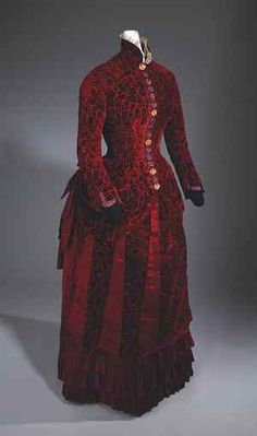 Woman's evening dress, c.1883. Velvet, satin, metal. California Historical Society Collections at the Autry National Center