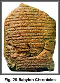 """The appointment of Zedekiah as king over Judah as mentioned in the preceding passage has also been found in records from Babylon known as the Babylonian Chronicles. The tablet records that after Jerusalem was captured by Nebuchadnezzar in 597 BC, """"He installed a king of his own choosing."""" (Zedekiah)."""