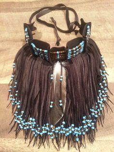 Native American leather fringed choker HOLIDAY by CreativeNative54, $60.00