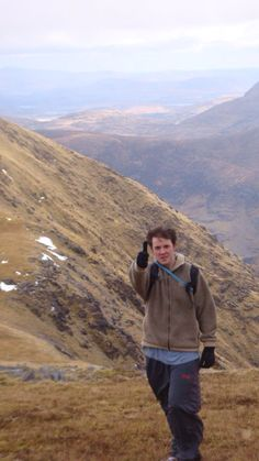 Climbing Ireland's highest mountain (March 2010). just look at that serene lush landscape. and lush head of hair ;)