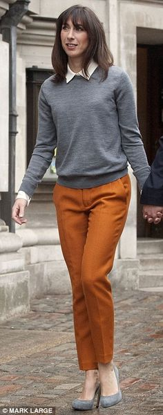 #SamCam and #fashion   Are they your lucky trousers, SamCam? PM's wife wins style vote as she recycles trusty orange Zara cigarette pants for election day