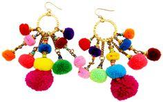 Pom Pom Statement Earrings