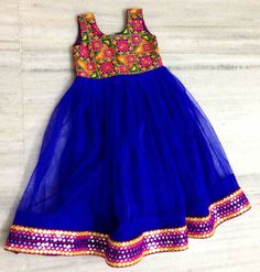 Mirror Work Frock in Blue - Indian Dresses Kids Indian Wear, Kids Ethnic Wear, Girls Frock Design, Baby Dress Design, Baby Frocks Designs, Kids Frocks Design, Frocks For Girls, Little Girl Dresses, Baby Dresses