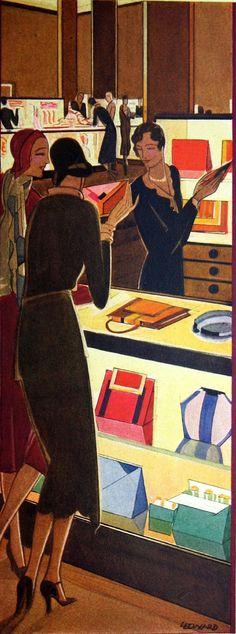 Leonard - Art Deco Illustration from vintage DuPont catalogue Art Deco Posters, Vintage Posters, Vintage Art, Belle Epoque, Art Nouveau, Vintage Magazine, Art Deco Illustration, Art Deco Design, Design Color
