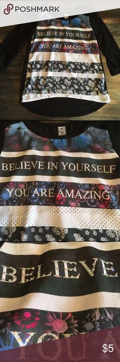 """Big girls/Teen Inspirational Top/Blouse Sz 14 This is a cute girls/tween/teen blouse by Beautees in size 14. It says """"Believe in Yourself - You are Amazing"""" and is adorned with cute rhinestone like bling and various graphic design. So cute and the perfect message for any tween or teen. In good pre-owned condition. Beautees Shirts & Tops Blouses"""