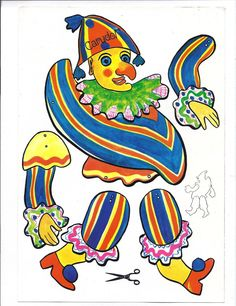 Pulcinella Punch Clown Puppet Pierrot Cut Out Paper Toy Doll 10 7 | eBay