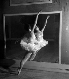 Leslie Caron rehearses at the Paris Opéra Ballet, 1950.