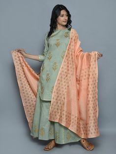 Pastel Green Hand Block Printed Suit - Set of 3 Indian Suits, Indian Dresses, Indian Wear, Punjabi Suits, Plazzo Suits, Kurti Designs Party Wear, Blouse Designs, Dress Designs, Indian Fashion