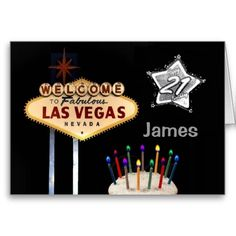 Las Vegas 21st Birthday Card Change Text To Your Own Name