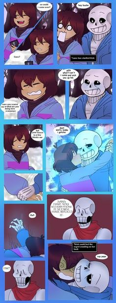 finally the comic is done Ooooh papyrus i wonder what he think of this and frisk is opening her eyes! so cute they are so close too. E(R)ASE pt 5 Undertale Drawings, Undertale Memes, Undertale Cute, Undertale Ships, Undertale Comic, Sans E Frisk, Sans X Frisk Comic, Frans Undertale, Toby Fox